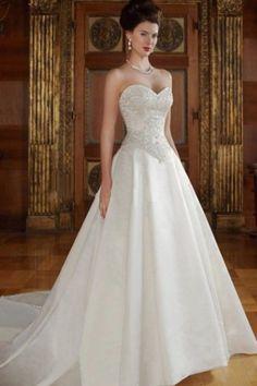 TERESA - Empire waist Sweetheart Chapel train Satin Wedding dress