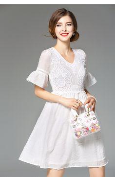NEXIIA Nouvelles Femmes Doux D'été Robe Vintage Parti Blanc Robe de Haute qualité Sexy Brodé Coton Robes Courtes NXG8809