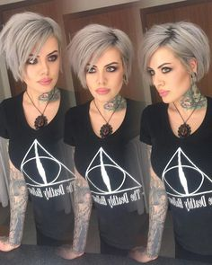 Gray hair color is not only for older ladies, young women sports gray hair wear gradually. Here we have gathered 15 Short Grey Hair Styles for you to get. Cool Short Hairstyles, Bob Hairstyles, Short Gray Hairstyles, Edgy Haircuts, Pixie Haircuts, Latest Hairstyles, Short Grey Hair, Grey Short Hair Styles, Short Hair Cuts For Women Edgy