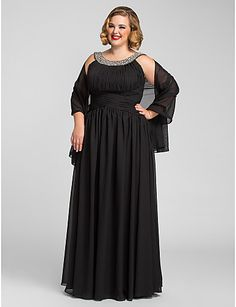 A-line Jewel Floor-length Black Formal Dress @ Mother of the Bride / Groom Dresses Blog