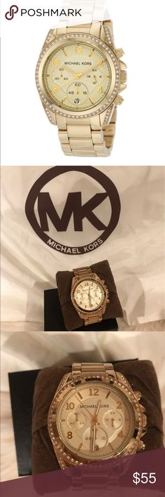 Michael Kors Blair Goldtone Chronograph Watch Michael Kors MK5166 Blair Goldtone Stainless Steel Chronograph Watch. Has all Rhinestones and does need a new battery.  Only slight unnoticeable scratches on band shown in picture. My wrist measurement is about 6 inches Overall in great condition. ⭐️Top Rated Seller 📦Next day shipping Michael Kors Accessories Watches