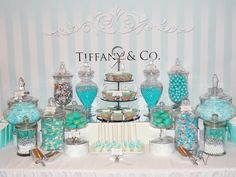 Tiffany & Co Dessert Table. Great idea for a Tiffany & Co party theme.