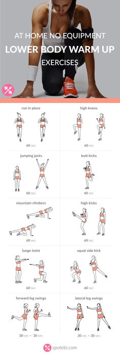 Get ready for your lower body workout with this set of warm up exercises. An at home routine with instructions, calories burned, music playlist and timer. http://www.spotebi.com/workout-routines/at-home-no-equipment-lower-body-warm-up-exercises/