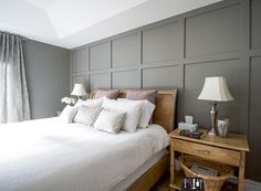 home accents diy Board and batten, board and batten accent wall, DIY board and batten, board and batten in master bedroom, diy wainscoting Accent Wall Bedroom, Gray Bedroom, Home Bedroom, Bedroom Decor, Bedroom Furniture, Basement Master Bedroom, Feature Wall Bedroom, Bedroom Ideas, Diy Interior