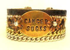 CANCER SUCKS Inspiration Charm Swartovski Crystals by JanaJewelry, $50.00