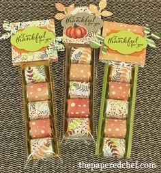 Painted Autumn Nugget Treats - The Papered Chef Fall Paper Crafts, Candy Crafts, Paper Crafting, Fall Craft Fairs, Craft Show Ideas, Halloween Crafts, Holiday Crafts, Halloween Fruit, Thanksgiving Favors