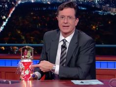 """From last night's """"Late Show"""" on CBS: see how Stephen Colbert pours a fresh, strong blend of heavily caffeinated comedy."""