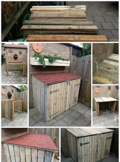 Tutorial: Pallet Storage Bin Project - All About Gardens Outdoor Storage Bin, Outside Storage, Pallet Storage, Wood Storage, Storage Bins, Recycling Storage, Bike Storage Ideas Diy, Bin Storage Ideas Wheelie, Pallet Crafts