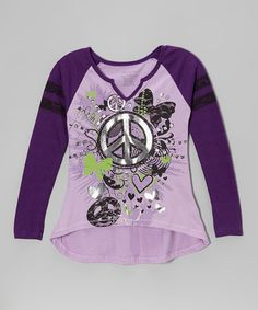Another great find on #zulily! Lilac Butterfly & Peace Hi-Low Tee - Girls #zulilyfinds