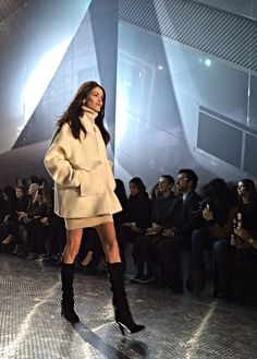 White coat on the runway at the #HMStudioAW14 show! #PFW