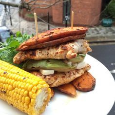 """Wow try this double naughty sweet potato chicken burger with avocado, feta cheese and corn on the cob! It's #Leanin15 #BurgerMe #Decent"""