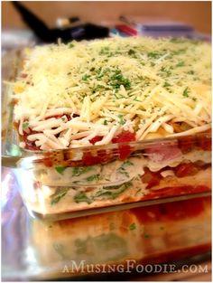 Spinach, Mushroom & Italian Sausage Lasagna; so scrumptious