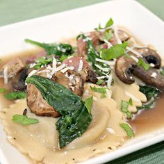 Chicken Marsala Ravioli with Mushrooms and Spinach. Plus a giveaway!