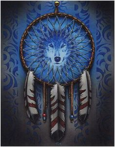 What is a Dream Catcher? Dream catchers are arts and crafts of the Native American people. The original web dream catcher of the Ojibwa was intended to teach natural wisdom. Nature is a profound teacher. Dream catchers of twigs, sinew, and feathers. Beautiful Dream Catchers, Dream Catcher Art, American Indian Art, Native American Art, Wolf Dreamcatcher, Dream Catcher Native American, Wolf Spirit Animal, Diy Accessoires, Wolf Tattoos