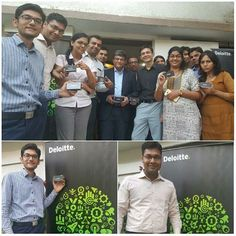 Excited bunch of Deloitte India Baroda professionals getting clicked on the iconic day of Brand Identity Refresh.