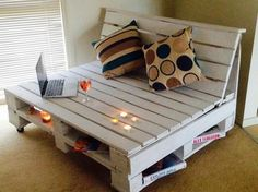 Let us start with something that can be placed at a place in a home where a unique furniture piece is required to be placed for the working or relaxing purpose. It is a reclaimed wood pallet seating with storage, it can be used for working or watching movies for relaxing.