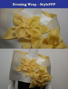 """Evening Wrap - StylePFP. 100% silk. Satin organza evening wrap with pearl center and two flowers. It has a snap closure and measures 50"""" x 12""""."""