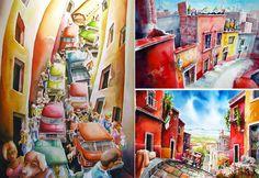 Города, дороги и пейзажи, написанные акварелью. Яркие солнечные картины Майке Клеймо (Mike Kleimo)