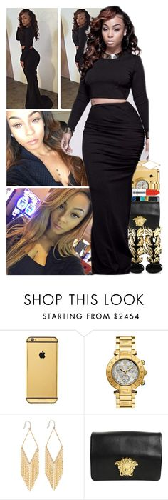 """""""♛ Miss Mercedes Morr ♛"""" by itstoidummiee ❤ liked on Polyvore featuring Goldgenie, MAC Cosmetics, Lana, Versace, Giuseppe Zanotti and iWantMorr"""