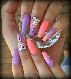 Glittered ombre pink purple. Are you looking for peach acrylic nails design? See our collection full of peach acrylic nails designs and get inspired!