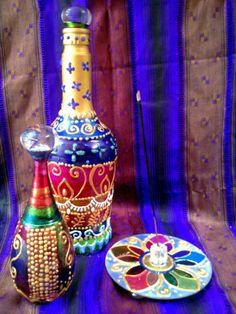 kit interarte Garrafas estilo marroquino e incensário