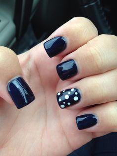 #nails #navy #polkadots