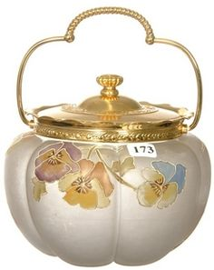 Art Glass; Smith Brothers, Biscuit Jar, Melon Ribbed, Pansy Decor, Gilt Silver Plate Lid, 6 inch.