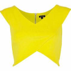 Yellow wrap crop top $44.00 - River Island