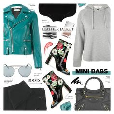 """""""Leather Jacket & Hoodie - Street Style"""" by anyasdesigns ❤ liked on Polyvore featuring Golden Goose, Topshop, Gentle Monster, Misha Nonoo, Balenciaga, Dolce&Gabbana, Nails Inc. and Lynn Ban"""
