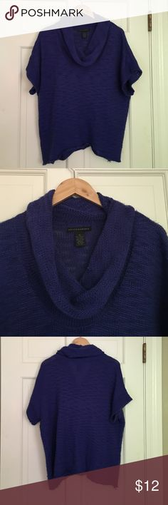 Blue Cowl Neck Short Sleeve Sweater This sweater is still in good shape, but has some wear to it. I wore it over skirts and pants. Grace Elements Sweaters Cowl & Turtlenecks