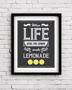When Life Gives You Lemons Quote - Quote art - Inspirational print - Typography print - Typographic print - Quote poster - Retro poster by BlackPelican
