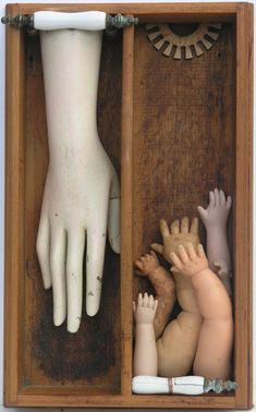 Dale Copeland Trickle Down Effect - assemblage art Cornell Box, Joseph Cornell, Found Object Art, Found Art, Creepy Dolls, Doll Parts, Assemblage Art, Sculpture Art, Metal Sculptures