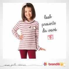 Conjunto para menina mistura o padrão das listras com o moderno do vermelho. Moda para menina que adora estilo! #lookbrandili