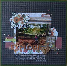 Using October 2016 Lottie Loves Paper kit #scrapbooking #pebbles #autumnlayout