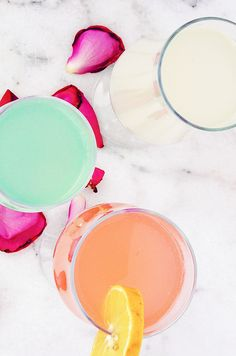 Homemade colourful lemonade