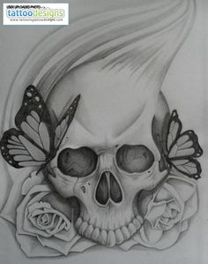 LOVE IT! Skull Rose And Butterfly By Steve Bxa Image Tattooing Tattoo Designs