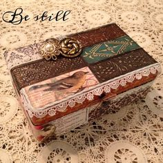 """Prayer Box """"Be still and know that I am God! Prayer Box """"Be still Prayer Jar, Prayer Book, Catholic Crafts, Church Crafts, Craft Gifts, Diy Gifts, Womens Ministry Events, Faith Box, Cigar Box Crafts"""