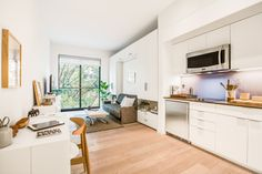LOTS OF APARTMENTS in New York City are micro, but Carmel Place—the prefab building that's now being leased after two years of development—will be the city's first official micro-apartment complex. Carmel Place apartments range from 260 to 360 square feet in size.