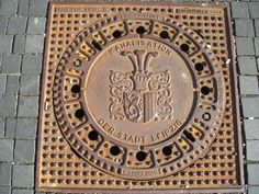 Manhole cover in Leipzig, Germany