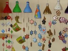 Re-Use Plastic Bottle Tops ! - I love these windchimes.