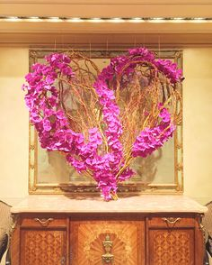 Heart Flower arrangement in the lobby of Four Seasons Hotel