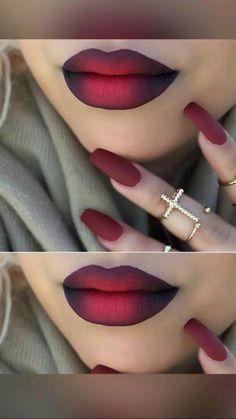 Red Lipstick Makeup Looks, Black Smokey Eye Makeup, Red Eye Makeup, Lipstick Art, Dark Skin Makeup, Lip Art, Eyebrow Makeup, Red Lipsticks, Sparkle Lipstick