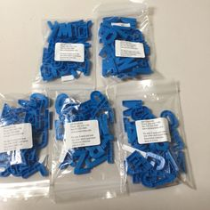 LOT OF 5 BLUE UPPERCASE PLASTIC ALPHABET LETTERS
