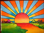 Psychedelic Sun | PSYCHEDELIC RETRO STYLE POP ART BY HOWIE GREEN