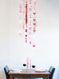 Paper Heart Garland - How to Make a Valentine's Day Paper Heart Garland on HGTV
