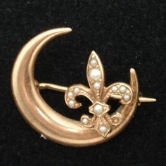 10k Yellow Gold Victorian Pin Fleur-de-Lis Crescent Moon Seed Pearl