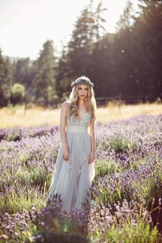 Flowing bridal gown with plunging neckline & lavender flower crown   Rivkah Photography