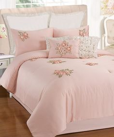Another great find on #zulily! Pink Rosetta Comforter Set #zulilyfinds