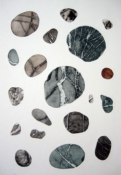 Pebbles are Great (4) Colour Collagraph-  57 x 38 cm by Tessa Horrocks