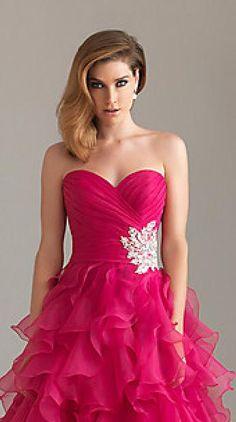 Sexy Princess Fuchsia Empire Strapless Long Prom Dresses klkdresses16542xdf #longdress #promdress